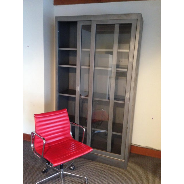 Industrial Vintage Industrial Metal Display Cabinet For Sale - Image 3 of 12