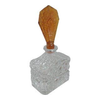 Vintage Art Deco Perfume Bottle With Amber Stopper For Sale