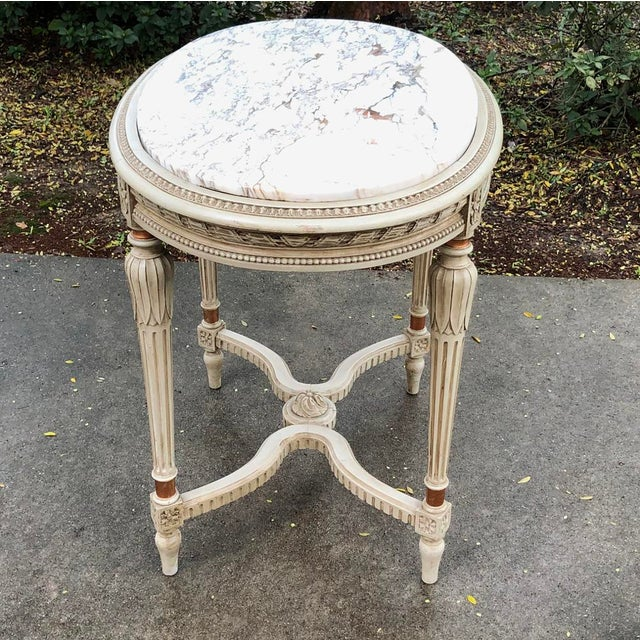 Late 19th Century 19th Century French Louis XVI Marble Top Oval End Table For Sale - Image 5 of 11