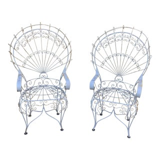 Vintage Wrought Iron Peacock Chairs - A Pair