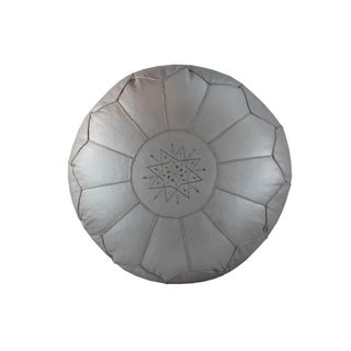 Stuffed Pearl White Leather Pouf For Sale