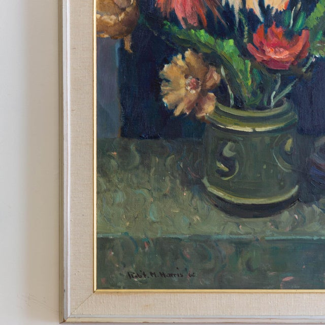 Metal 1962 Signed Still Life Oil Painting of Flowers For Sale - Image 7 of 8