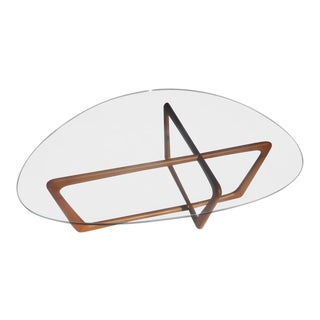 Mid-Century Modern Walnut Dog Bone Sculptural Glass Top Coffee Table For Sale
