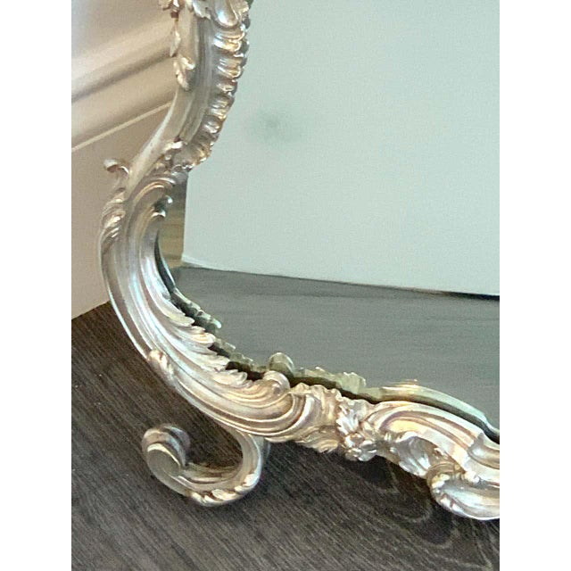 French Silver Plated Dressing Mirror For Sale In West Palm - Image 6 of 12