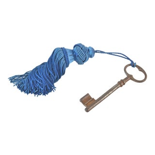 Reduced Shipping! Antique French Key With Teal Tassel For Sale