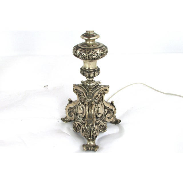 Ornate Hammered Tin Lamps - A Pair - Image 4 of 7