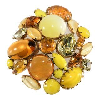 Schreiner Brooch Domed Yellow Amber Rhinestones Art Glass For Sale