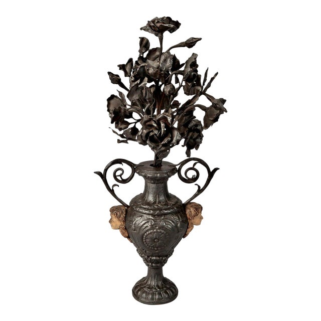 19th Century French Iron Urn with Flowers and Putti Faces - Image 1 of 7