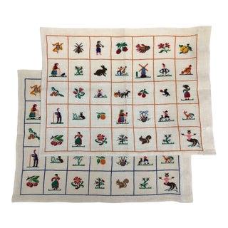 Vintage Mid-Century Cross-Stitch Linen Pillowcases - A Pair For Sale