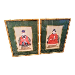 A Pair Vintage Ancient Ancestor Emperor Chinoiserie Faux Bamboo Framed Paintings Art Work For Sale