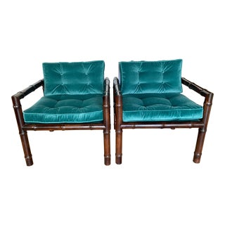 Vintage Century Furniture Bamboo Chairs in Velvet - a Pair For Sale