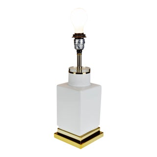 Vintage Lucite Ceramic & Brass Table Lamp For Sale