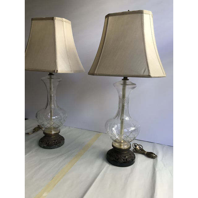 1900s Victorian Glass Table Lamps with Marble and Bronze Base - a Pair For Sale - Image 10 of 11