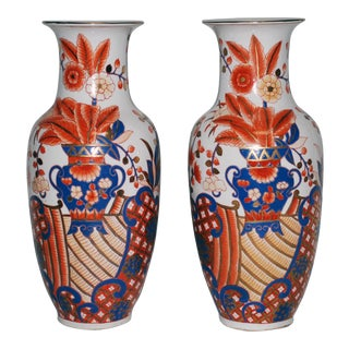 20th Century Japanese Imari Hand Painted Porcelain Vases - a Pair For Sale