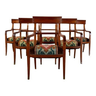 Set of Six English Regency Walnut Dining or Library Armchairs For Sale