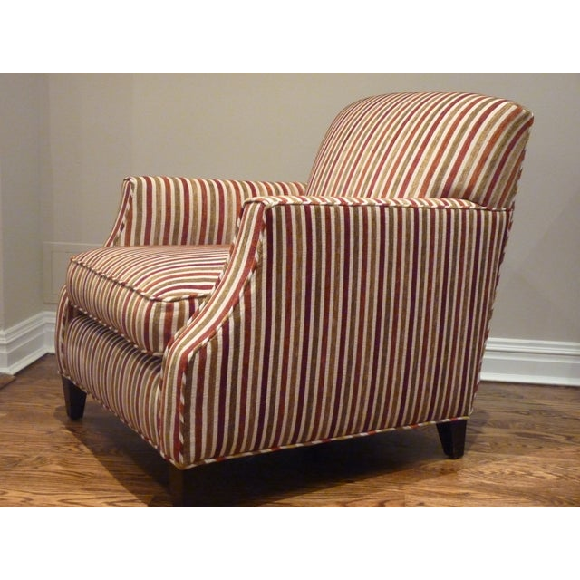 Crate & Barrel Striped Club Chair - Image 4 of 6