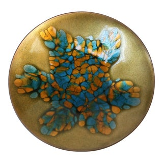 Mid Century Enamel on Copper Decorative Dish by Kareka For Sale