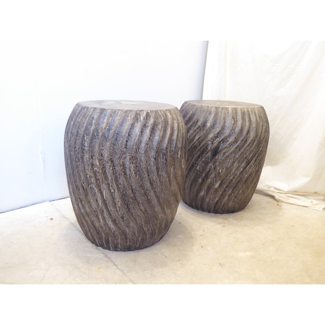 Vintage Carved Burnt Wood Stools - a Pair For Sale In Boston - Image 6 of 6