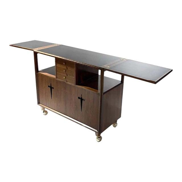 Rolling Convertible Walnut Edmond J. Spence Flip Top Bar or Serving Cart Buffet For Sale
