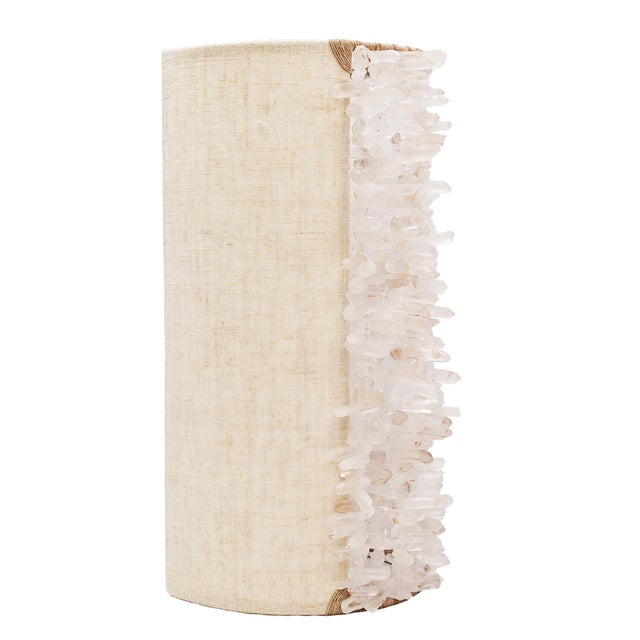 Linen wall sconce with quartz accent