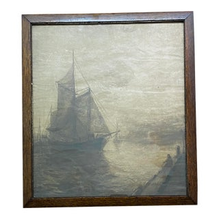 """Vintage """"Boat at Shoreline"""" Sepia on Paper, Red Oak Frame For Sale"""