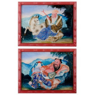 Chinese Louhan Reverse Glass Paintings - A Pair For Sale