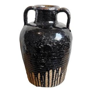 Vintage Black Ceramic Wine Jug For Sale