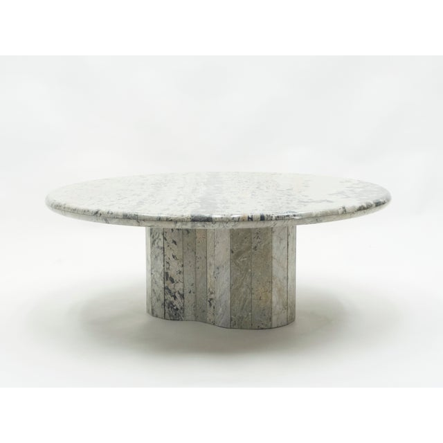 French Round Sicilian Marble Coffee Table For Sale - Image 10 of 13