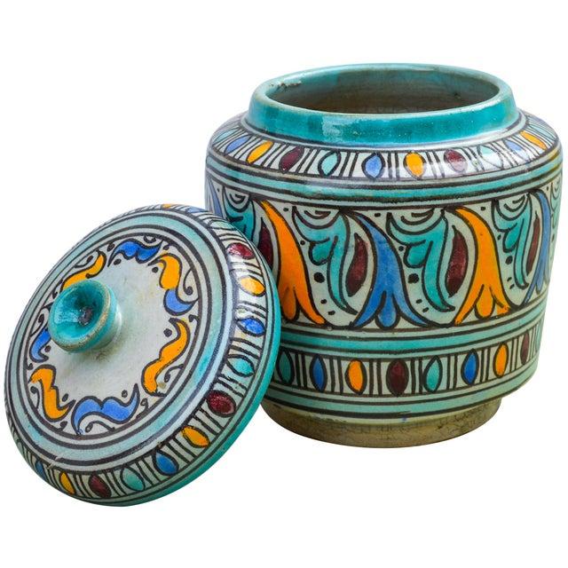 Ceramic Moorish-Patterned Ceramic Lidded Jar For Sale - Image 7 of 10