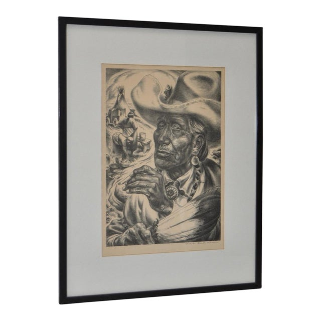 "Charles Banks Wilson ""Old Injun"" Pencil Signed Lithograph c.1948 For Sale"