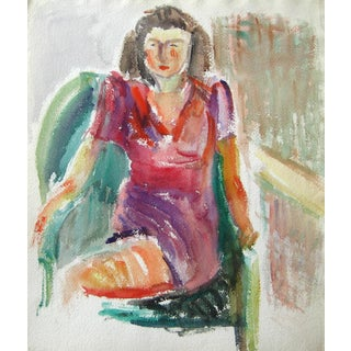 Seated Portrait Painting by J. Tofel