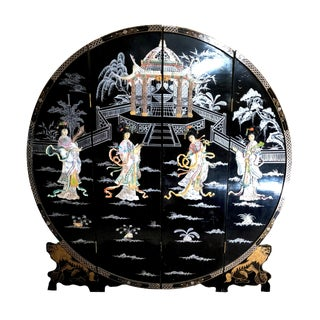 Chinese Circular Coromandel Folding Freestanding Room Divider Screen For Sale
