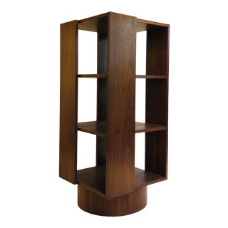 Revolving Walnut Bookcase For Sale