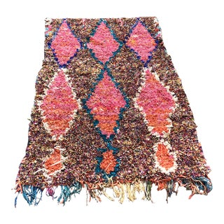 "Large Bright & Geometric Moroccan Boucherouite Rug - 4'1"" x 6'9"""