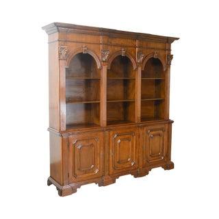 Italian Walnut Large Architectural Bookcase w/ Corinthian Columns