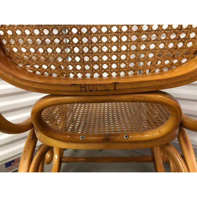 19th Century 19th Century Thonet Bentwood & Cane Wood Rocker Rocking Chair For Sale - Image 5 of 13
