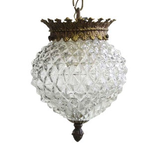 Early 20th Century 1960s Textured Glass Pendant Light For Sale