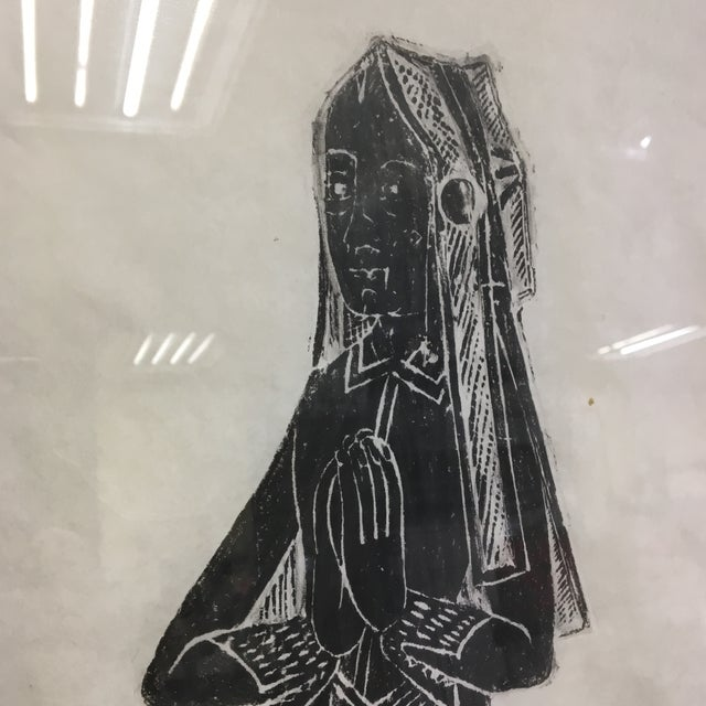 Medieval Brass Rubbing of Tombstone With Old English Inscription, Framed For Sale In Washington DC - Image 6 of 9