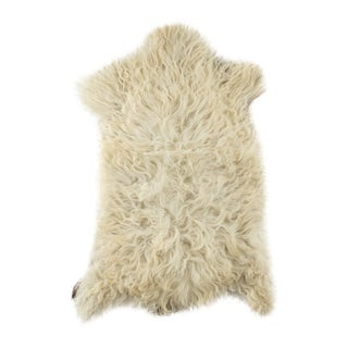 "Contemporary Long Wool Sheepskin Pelt, Handmade Rug - 2'2""x3'0"" For Sale"