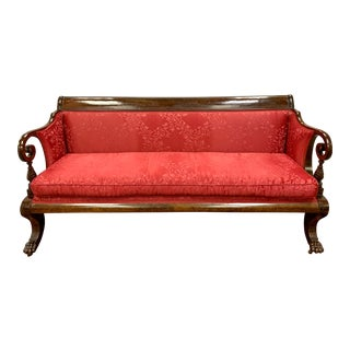 Antique American Empire Red Silk Mahogany Sofa Bench For Sale
