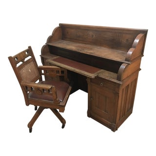 Victorian Eastlake Desk and Chair For Sale