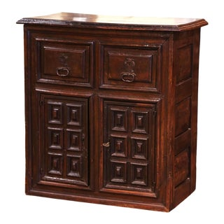 17th Century Spanish Catalan Carved Walnut Two-Door Buffet Cabinet For Sale