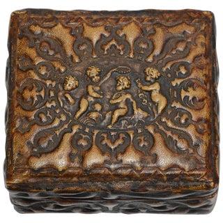 Embossed Leather Cherub Trinket Box For Sale
