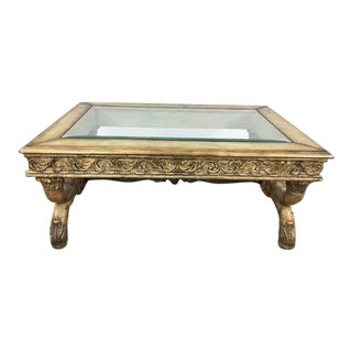 Rococo Style Carved & Gilded Wood Glass Top Coffee Table