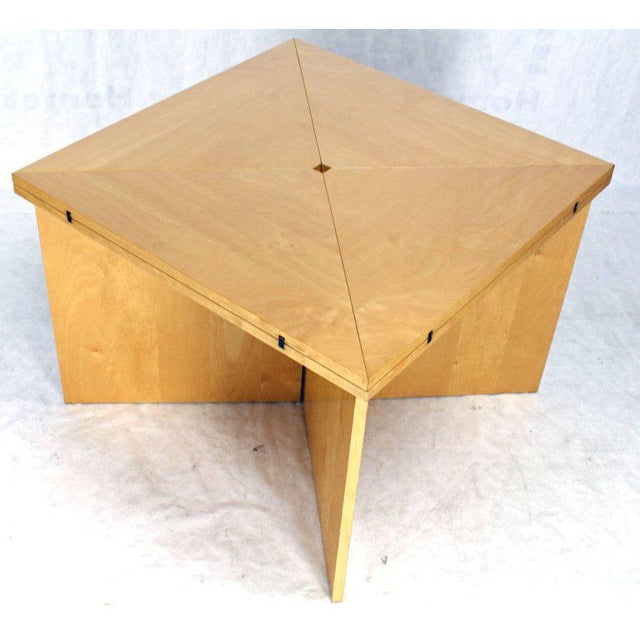 Mid-Century Modern Folding Convertible Two Sizes Birch Square Conference Dining Table X-Base For Sale - Image 6 of 7