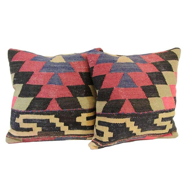 Turkish Kilim Pillow Covers - A Pair - Image 1 of 4