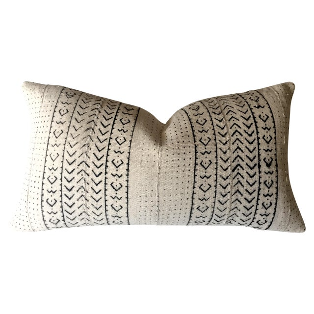 White & Black Mudcloth Pillow Cover - Image 1 of 9