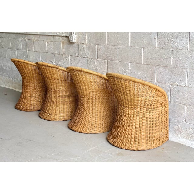 1960s 1960s Trompe L' Oeil Wicker Rattan Dining Set – 5 Pieces For Sale - Image 5 of 11