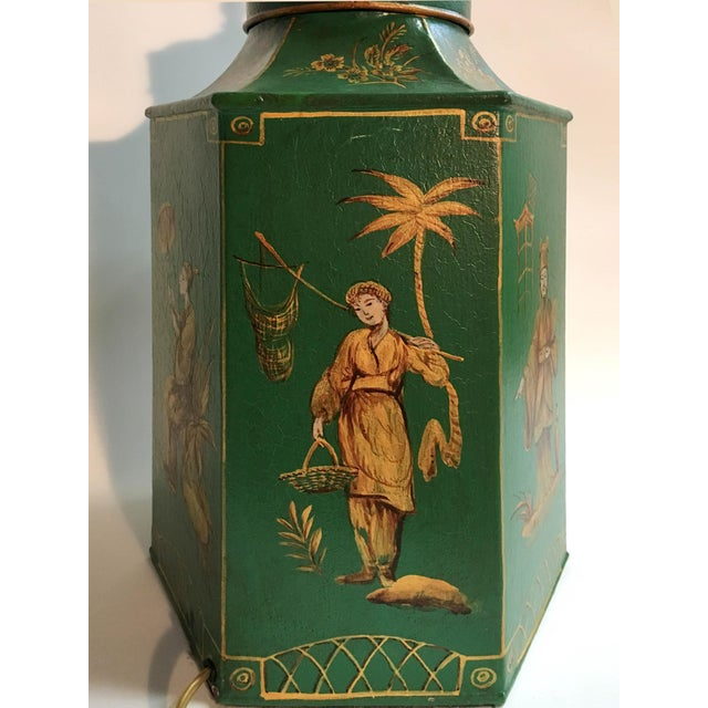 English Chinoiserie Hexagon Tea Canister Lamp For Sale - Image 4 of 8