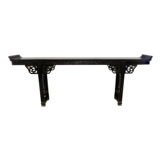 Antique Asian Hand Carved Wood 9-Foot Console or Alter Table For Sale